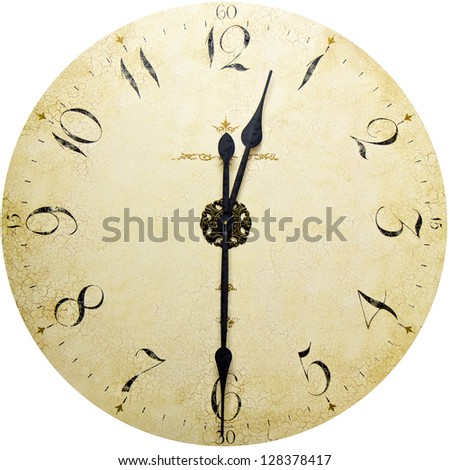 Old antique wall clock isolated on white - stock photo