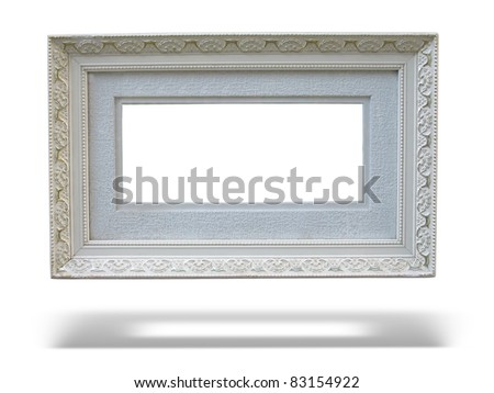 Old antique wooden picture frame with empty place for text or image over white background - stock photo