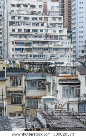 Old apartment building in Hong Kong - stock photo