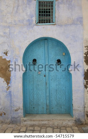 old arabic style blue door - stock photo