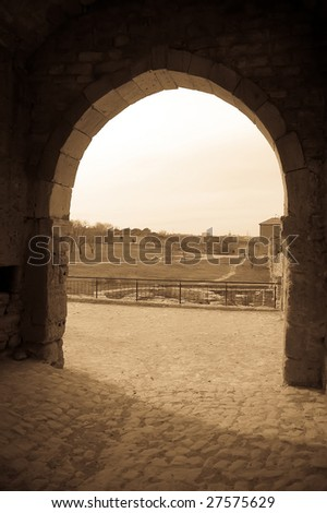 Old arch in castle, photo 3 - stock photo