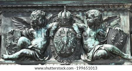 Old architectural detail of Habsburg dynasty in Vienna, Austria - stock photo