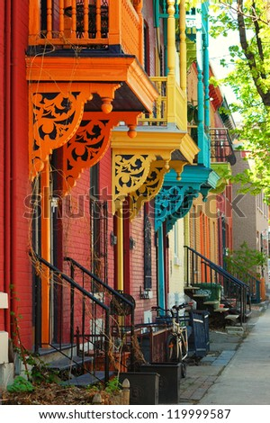 Old architecture in Montreal - stock photo