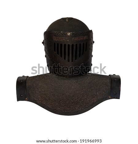 Old armor of black metal of knight isolated on white background - stock photo