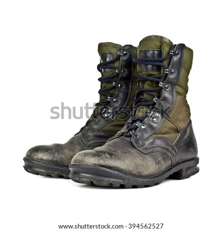 old army boots isolated on white background - stock photo