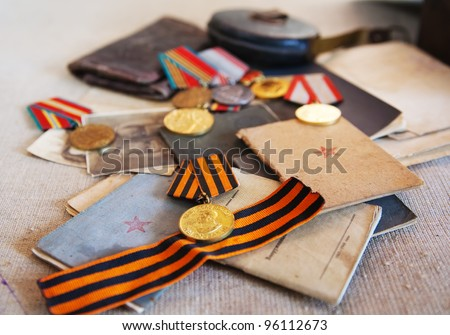 Old army documents and Soviet military medals  of World War II - stock photo