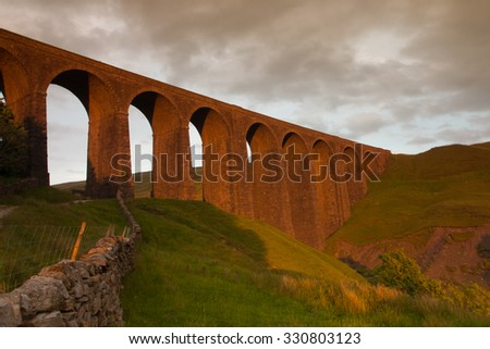 Old Arten Gill Viaduct in Yorkshire Dales National Park, Great Britain - stock photo