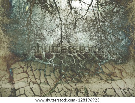 old background with cracks and landscape - stock photo