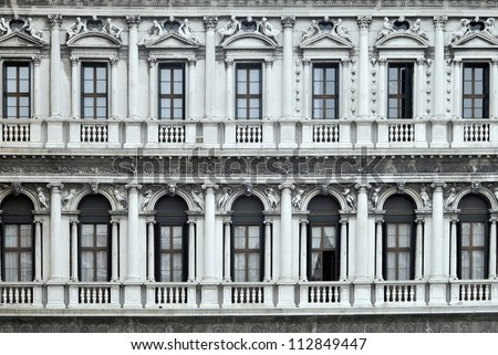 Old balconies in Piazza San Marco. Venice, Italy - stock photo