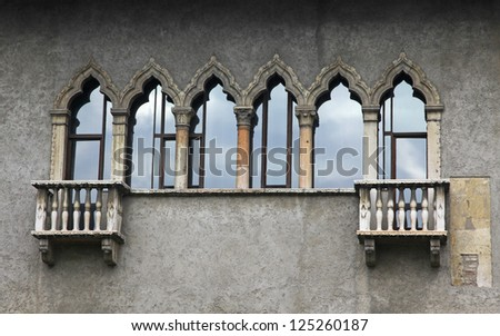 Old balconies in Verona, Italy - stock photo