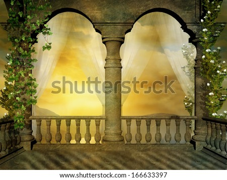 Old balcony and landscape in the evening - stock photo