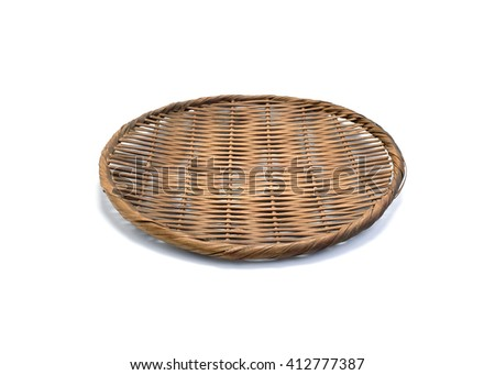 Old Bamboo basket hand made isolated on white background. - stock photo