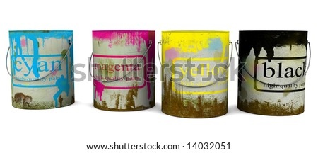 Old banks of a paint - stock photo