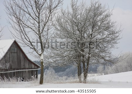 old barn against frosty trees - stock photo