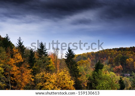 Old barn, fall color, Webster County, West Virginia, USA - stock photo