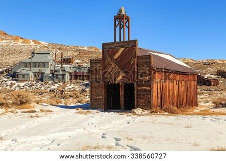 Old barn in a wild west ghost town, Bodie, California, USA. - stock photo