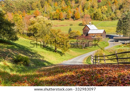 Old barn in beautiful Vermont autumn landscape. - stock photo
