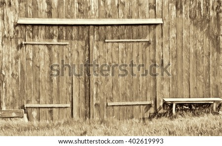 old barn - sepia style - stock photo
