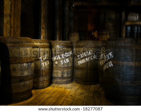 Old Barrels in a fishing museum - stock photo