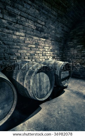 old barrels in a vault, hdr image - stock photo