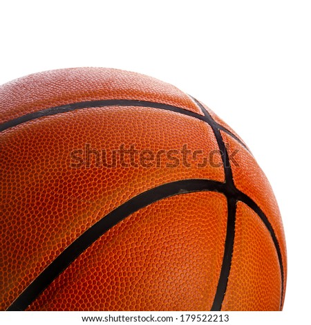 Old Basketball ball detail leather close up  isolated on a white background - stock photo