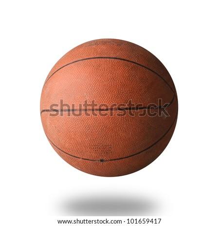 Old basketball isolated on white background - stock photo