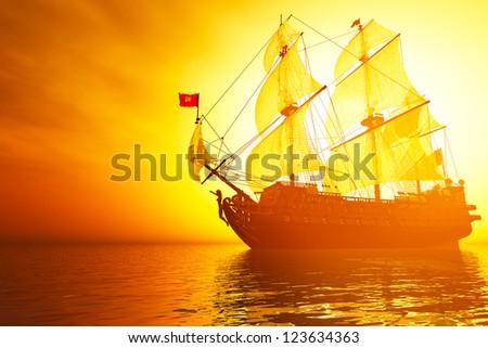 Old Battleship in the Sea in the Sunset Sunrise - stock photo