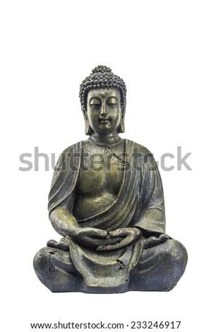 Old beautiful buddha on white background - stock photo