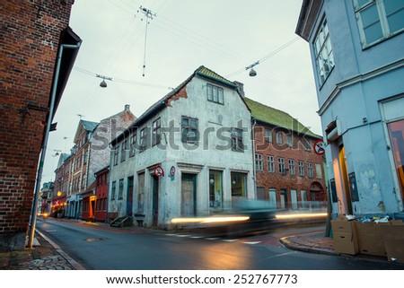 old beautiful houses in Helsingor - stock photo