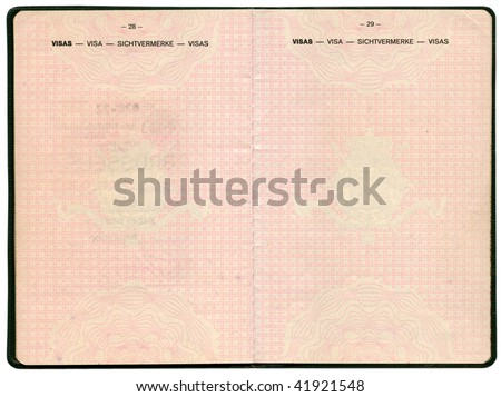 Old Belgian passport. Pages for visa marks - stock photo