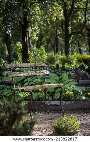 Old bench at cemetery. Selective focus. - stock photo