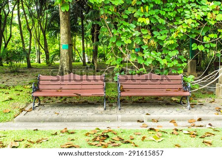 Old Bench in the garden - stock photo