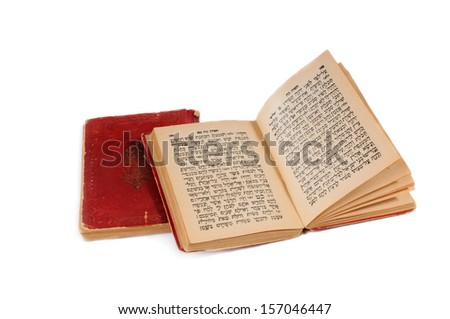 old bible book with hebrew text, open, isolated on white background  - stock photo