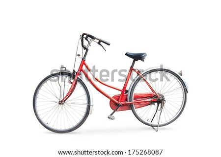Old bicycle isolated on white background with clipping path - stock photo