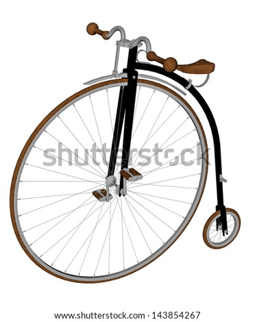 Old bicycle with big and small wheel in white background - stock photo