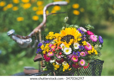 Old bicycle with colorful flower bouquet - stock photo