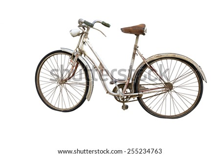 Old bicycle with  deflated weels isolated on white - stock photo