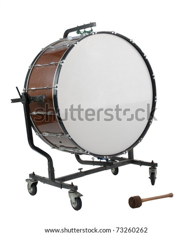 Old big bass drum the percussion of music band - stock photo
