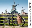 Old Bike and Windmills at Netherlands. Typical dutch scenery. - stock photo