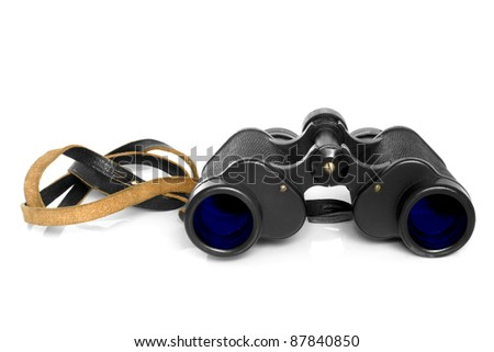Old binoculars on a white background - stock photo