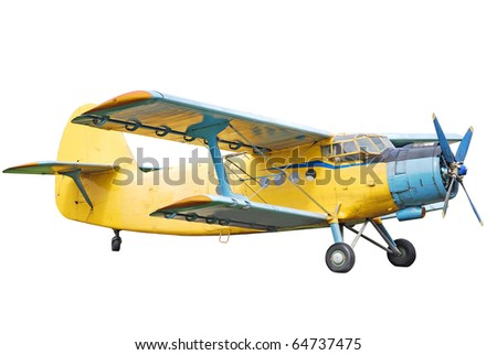 Old biplane isolated on white - stock photo
