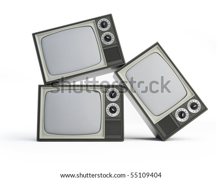 old black and white TV  isolated on a white background - stock photo