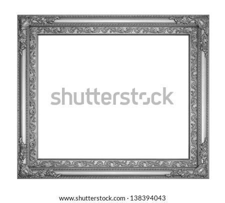 Old black antique frame isolated white background. - stock photo
