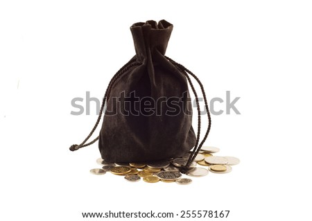 old black bag with money coins isolated on white background - stock photo