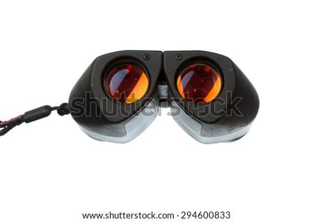 Old black binocular isolated on white background - stock photo