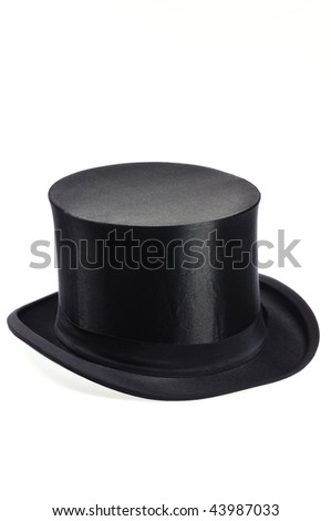 old black collapsible top hat - stock photo