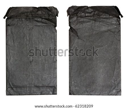Old black envelopes for a photo are isolated on a white background - stock photo