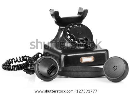 Old black phone - stock photo