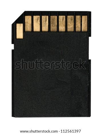 Old Black SD Memory Card - stock photo