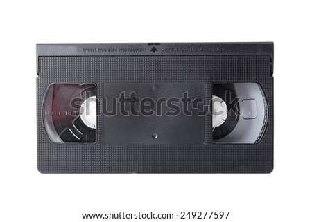 Old black videotape isolated on a white background. - stock photo